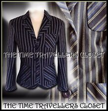 Kate Moss Topshop Navy Blue Cream Striped Tailored Preppy Blazer Jacket UK 10 12