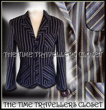 Kate Moss Topshop Navy Blue Cream Striped Tailored Preppy Blazer Jacket UK 6
