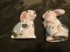 Pair Large White Porcelain Bunny Rabbit Blue Flowers
