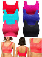 WOMEN PADDED TOP SPORTS BRA LADIES BANDEAU COMFORT WITH LACE SEAMLESS CROP VEST