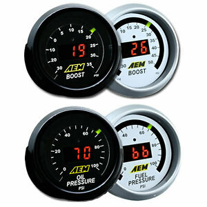 AEM 2 Gauges 52mm Combo Kit Set Oil / Fuel Pressure + Turbo Boost -30-50psi