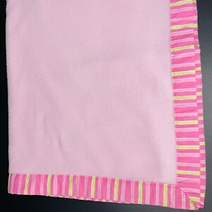 Sumersault Pink Baby Blanket with Pink and Green Stripe Trim Lovey Security