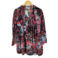 Jaase Womens Dress Size Medium Floral Boho Short Length Long Sleeve Gorgeous