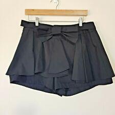 Cue Size 12 Shorts Black Pleats Ruffle Bow Belt Removable Cotton Summer Ladies