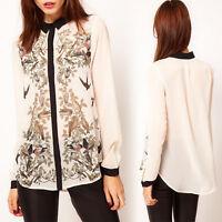 NEW WOMEN LADY FASHION Bird flower print long sleeve Chiffon shirt blouse tops