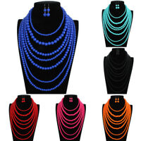 Fashion Womens Multi-layer Colorfull Resin Pearl Beads Necklace Hook Earring Set