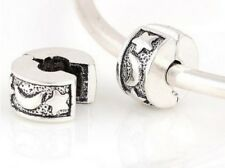 SILVER MOON & STAR CLIP STOPPER CHARM BEAD FOR BRACELET OR NECKLACE