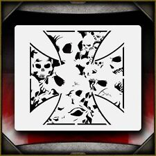 """Skull Iron Cross"" Airbrush Stencil Template Airsick"
