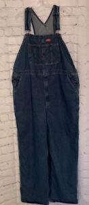 Dickies Men's Blue Denim Bib Jeans Carpenter Zip Fly Overalls - 44x32