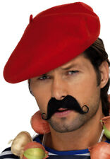 French Mens Red Beret Hat Adults Fancy Dress National Dress Accessory