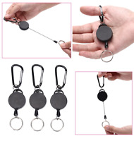 3Pack Heavy Duty Retractable Key Chain Badge Holder Locking Belt Clip Black 24""