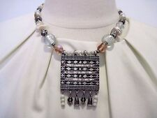 Designer CHICO'S Chunky Metal Center Piece Multicolored Beads, Shells Necklace
