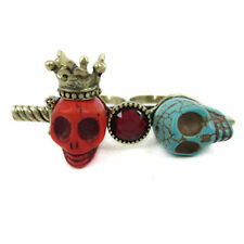 Vintage punk goth biker style red and turquoise skulls double finger ring