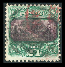 US #120; 24¢ DECL OF INDEPENDENCE, F-USED, w/RED Cancel , CROWE Cert, CV $1,100