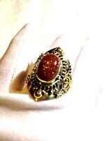 Vintage Tribal Genuine Goldstone Sand Stone Size 9.5 Brass Knuckle Ring