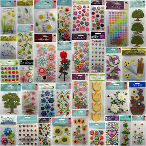 U Choose💋Flower Scrapbook Stickers Jolee's Paper House Crafts Rose Daisy Floral