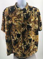 Panama Jack Mens Hawaiian Shirt Black Gold Parrot Beer Mug Tropical Size XL