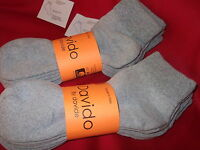 Mens socks diabetic ankle /quarter 100% cotton made in Italy 6 pairs gray 10-13