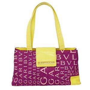 BVLGARI Nylon Leather Shoulder Tote Hand Bag Purse Purple Yellow Logo Letters