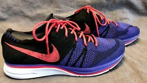 NIKE FLYKNIT Trainer Purple Black Red Athletic Shoes AH8396-003 Men's Size 8