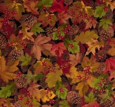 Cabin Leaves Autumn FLANNEL Timeless Treasures Cotton Quilting Fabric 1/2 YARD