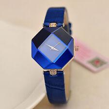 Fashion Women's Watches Faux Leather Band Crystal Analog Quartz Wrist Watch Blue