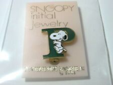SNOOPY PEANUTS CHARLIE BROWN AVIVA VINTAGE INITIAL JEWELRY PIN FIGURE 1975