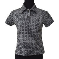 FENDI Vintage Zucca Pattern Short Sleeve Tops Black Gray Authentic AK31319j