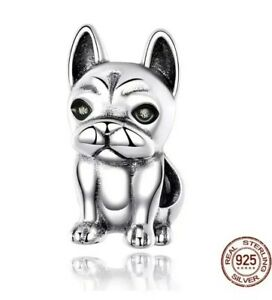 CUTE FRENCHIE FRENCH BULLDOG CHARM GENUINE 925 STERLING SILVER GIFT 💜💛💜
