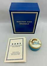 """Halcyon Days Enamels Trinket Box Smithsonian Institute Cat Licking Cup 3/4"""" Tall"""