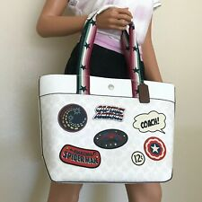 Coach 2539 Marvel Jes Tote in Signature Canvas With Patches Chalk Multi