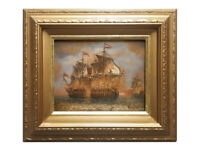 Framed oil painting of colonial battleship in action with