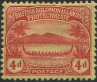 Solomon Islands 1908 SG11a 4d red/yellow Canoe MLH