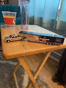 Action Sports Image Dale Earnhardt Dually W/ Trailer 1:64 Scale Silver & Black 3