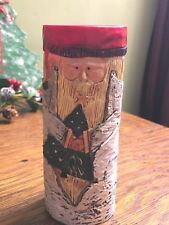 Fireplace Match Holder Country Christmas Santa Wood Look - Hand Painted Ceramic