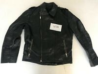 "Motorcycle Jacket Real Leather Black Armpit 20"" Lgth 23"" (658)"
