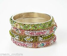 Chamak by Priya Kakkar Set of 4 Pink & Green Crystal Bangles NEW MSRP $112