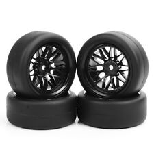 4 Pcs Set RC Flat Drift Tires Wheel Rim Hub For 1:10 On-Road Car PP0338+BBNK