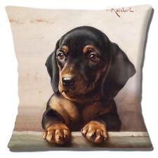 """BLACK TAN DACHSHUND SMOOTH VINTAGE STYLE CARL REICHERT 16"""" Pillow Cushion Cover"""