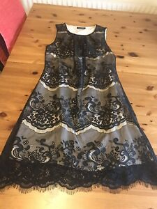 Femme Size 10 Black Lace Nude Lined Shift Dress Sleeveless Knee Length