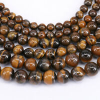 "15"" Strand Yellow Tiger Eye Gemstone Loose Beads Jewelry Findings 4/6/8/10MM DIY"