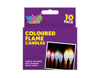 10 x Colour Flame Candles Birthday Xmas Party Cake Holder Novelty Celebration