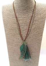 Boho Angel Wing Copper Feather Turquoise Tassel Leather Antique Gold Necklace