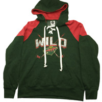 NHL Minnesota Wild Men's Medium Green Pullover Fleece Hoodie Sweatshirt NWT