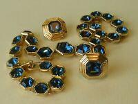 Swarovski signed vintage 'Art Deco' ocean blue crystal necklace and earrings