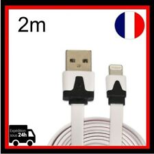 Câble USB Chargeur Nouille Plat 8 pin pour iPhone 5/5s/5c/6/6S iPod Blanc 2m