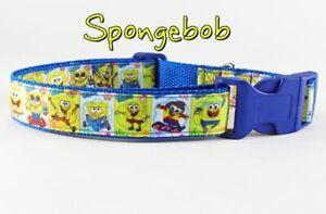 "Spongebob dog collar handmade adjustable buckle collar 1"" wide or leash fabric"