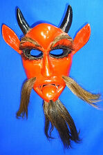 Vintage German Wood Carved Wall Mask / Ornament Crampus Devil Face Christmas #<