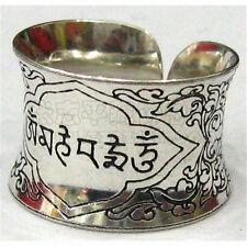 Wide Solid Adjustable Tibetan Delicately Carved OM Mani Padme Hum Amulet Ring