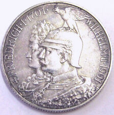 RARE 1901 PRUSSIA SILVER COIN! 200 YRS MONARCHY EMPEROR in EAGLE HELMET Sharp BU
